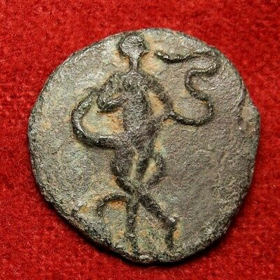 Dancing Nymph with snake between crossed legs.Extremely rare coin 1 of 2 known.
