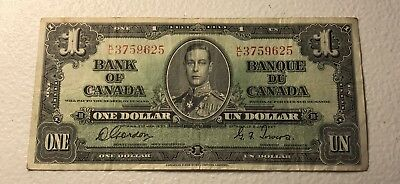 1937 $1 Bank of Canada Circulated