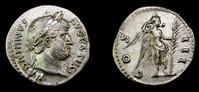 MS⭐️.Hadrian Victory palm denarius. Very Rare Roman coin. Similar sold for $850