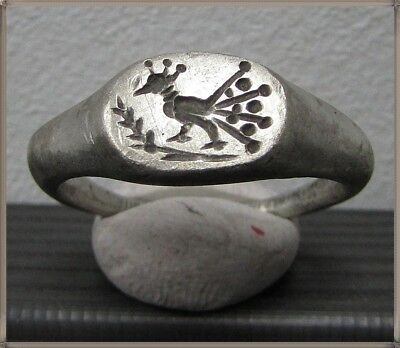 **IRON AGE**Ancient Silver  CELTIC Ring **LA TENE ** 500BC** PEACOCK **
