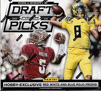 2015 Panini Prizm Draft Picks Collegiate Football Hobby Box. 12 Pack Box 2 Autos