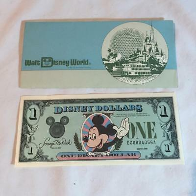 Series 1988 Walt Disney Dollar Bill Mickey Mouse in Gift Envelope