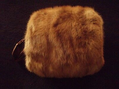 Honey Brown MINK MUFF~Brown Satin Lining & Hand Loop~Perfect & in time for Xmas!