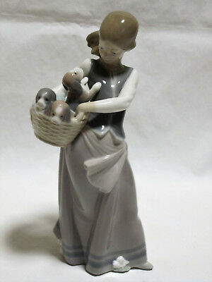 Lladro Figurine Little Dogs On Hip Girl and Puppies In Basket 1311 Retired 1996