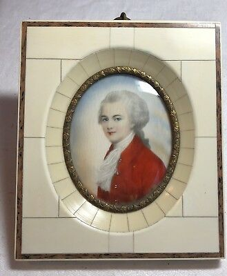 19C French Miniature Portrait Painting on Ivory Napoleonic Military Gentleman