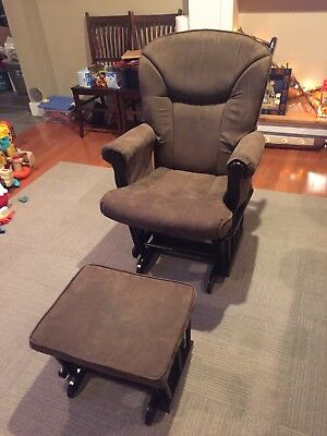 Mother's Glider And Ottoman Set For Baby Nursery, Breast Feeding Rocking Chair