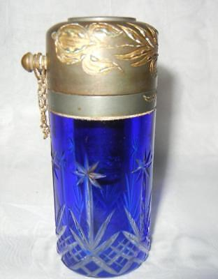"Antique 4"" Baccarat France Cobalt Cut To Clear Glass Atomizer Perfume Bottle"