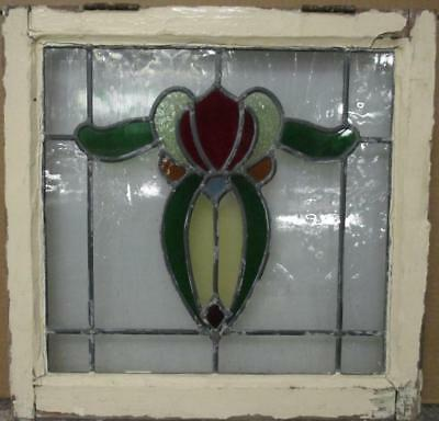"OLD ENGLISH LEADED STAINED GLASS WINDOW Gorgeous Floral Design 21"" x 20.5"""
