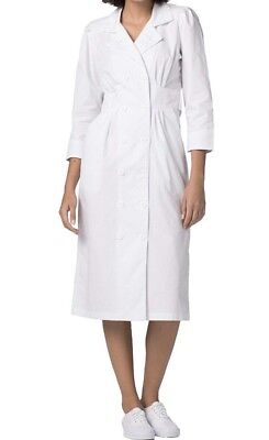 Adar Universal Tuck Pleat Midriff Nurse Dress with embroidered lapels White, 12