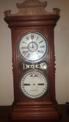 Antique Ithaca Index Double Dial Calendar Clock with Restored Movement