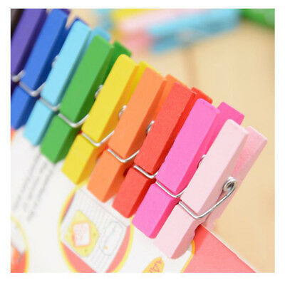 50pcs Mixed Colors Wooden Pegs Note Memo Photo Clips Holder Craft Decoration B
