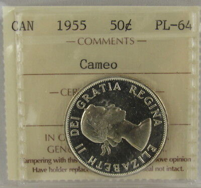 Canada 1955 50 Fifty Cents Iccs Prooflike Pl-64 Cameo