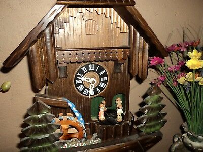Vintage German Animated Musical Cuckoo Clock With Rotating Figures & Waterwheel