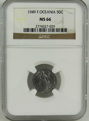 French Oceania 1949 50 Centimes Ngc Ms66