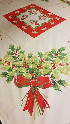 VINTAGE CHRISTMAS TABLECLOTH SQUARE TABLE HOLLY BELLS CANDLES 50x45 BERRIES