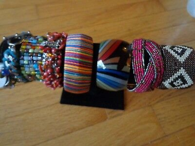 Vintage And Modern Mixed Seed Bead Glass Bracelet Lot