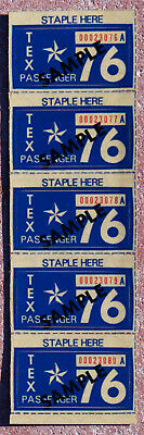 5 - 1976 Texas SAMPLE license plate validation stickers