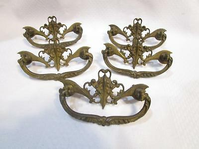 5 Antique Brass Dresser Drawer Pulls Handle ORNATE hardware cast bronze original