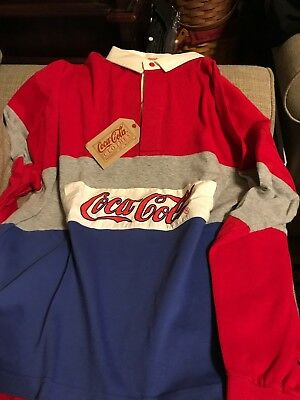 Vintage Coca Cola Red Blue Rugby Shirt Xl NWT