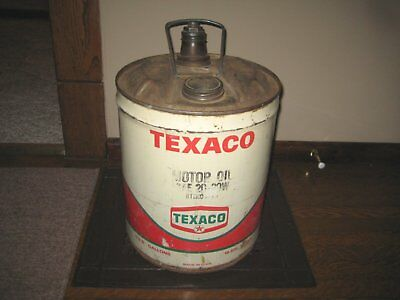 Vintage oil can 5 Gallon Texaco Motor Oil Gas Can Advertising with spout