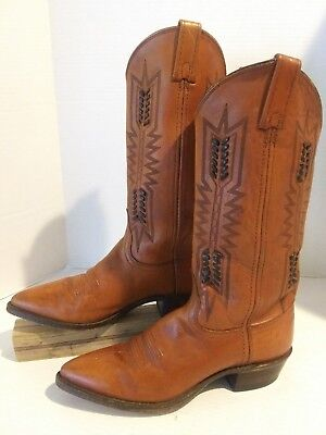 """aa9704215e9 Women s DAN POST 7.5M Western Boots 14"""" Chestnut Brown Leather Point Toe  Nice!"""