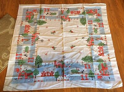Vintage 46x42 Colorful Farm Chicken Rooster Cow Barn Novelty MCM EUC Tablecloth