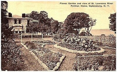 Pre 1916 Postcard view Flower Gardens Pythian Home Ogdensburg NY unmailed