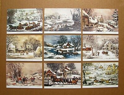 Currier & Ives Christmas Cards with Envelopes, Unused - American Scene