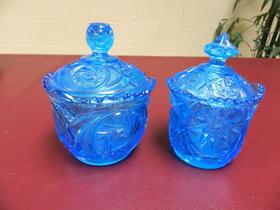 Vintage Pair of LE Smith Blue Glass covered Candy Dish with Lid Hobstar Lot