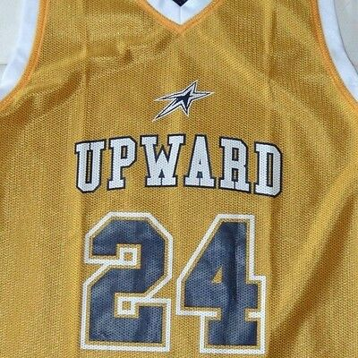 UPWARD #24 Reversible Basketball Jersey Blue Yellow Youth Large Size YL *3V