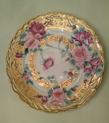 Antique Porcelain Plate Hand Painted Pink Roses - Gold Trim