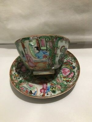 Chinese Export Famille Rose Medallion Handlers Tea Cup & Saucer China Mark