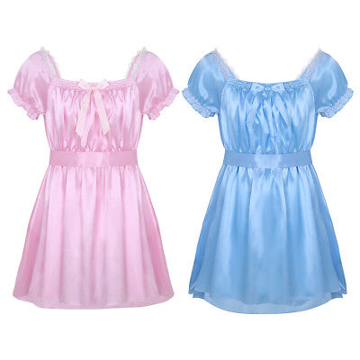 Mens Sissy Dress Crossdress Lingerie Satin Lace Frilly Sash Baby Doll Nightwear