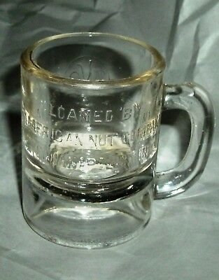 American Nut Company vintage glass advertising mug 10¢ measure Indianapolis, IN.