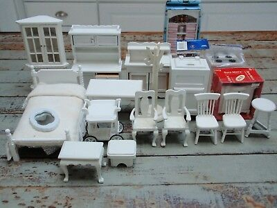 Vintage White Wooden Dollhouse Miniatures Furniture Some Boxed Never Used Lot