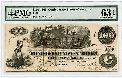 1862 T-39 $100 Confederate States of America Note w/ TRAIN PMG Ch.CU 63 EPQ