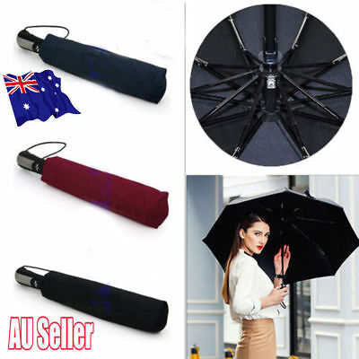 Automatic Folding Umbrella Windproof Compact With 10 Fiberglass Frames JO