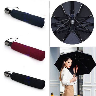 Automatic Folding Umbrella Windproof Compact With 10 Fiberglass Frames RN