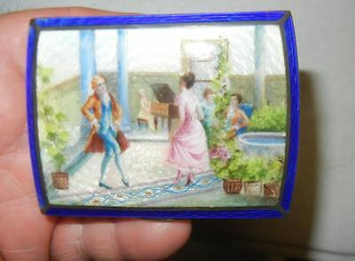 Outstanding Antique Austrian 800 Silver Enamel Guilloche Cigarette Case Vesta