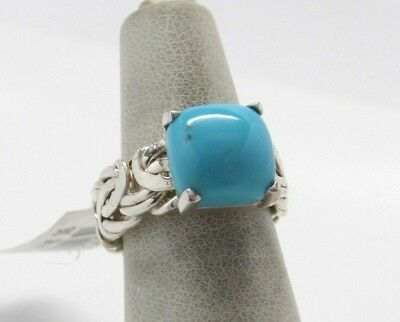 Sleeping Beauty Turquoise Byzantine Sterling Silver Ring  Sz 6