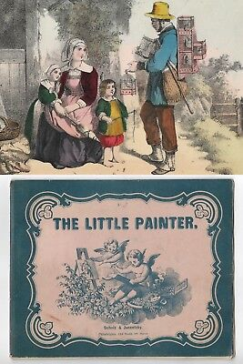 Antique THE LITTLE PAINTER Victorian Children's Painting 4 HAND COLORED PLATES