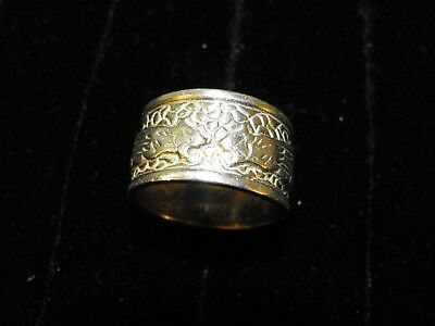 Heavy Vintage Sterling Silver Biker Ring Tribal Tigers Cigar Band 16g sz 12 Rare