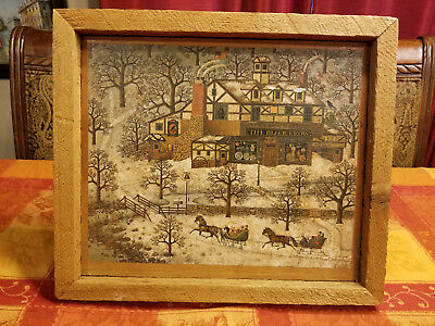 Charles Wysocki The Black Crow Shop Vintage Print on Wood Framed