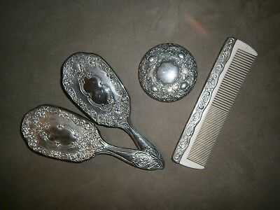 Vintage Silver-Plated? VICTORIAN Hand Mirror, Brush (2) and Comb For Vanity