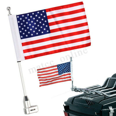 Motorcycle American Flag Flagpole Luggage Rack Mount For Honda Harley