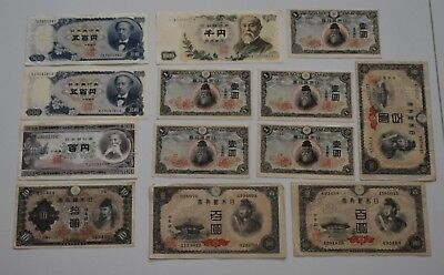 Japan lot of 13 banknotes 1-1000 yen  paper money 1943-1969 circulated condition