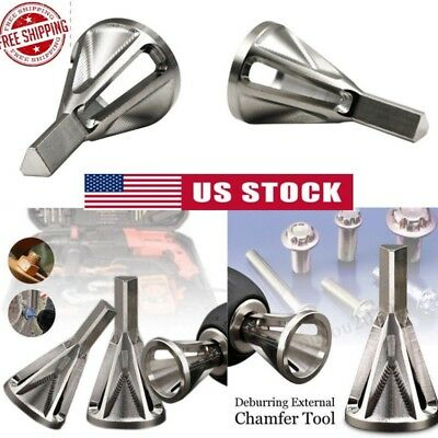 Stainless Steel Deburring External Chamfer Tool Bit Remove Burr Repair Silver US