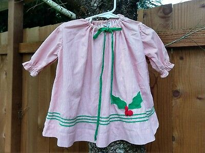 Vintage Kate Greenaway Toddler Holiday Dress 1960s Size 2T Red White Green