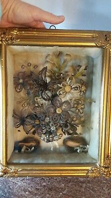 Victorian Mourning Woven Hair Flowers Bouquet Memorial Gold Shadowbox Frame