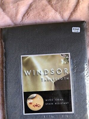 NEW Windsor TAUPE TABLECLOTH Herringbone Bronze 52 70 84 144 OBLONG Round SQUARE